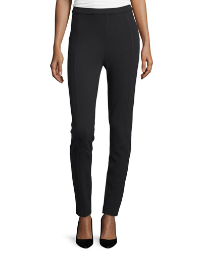 High-Waist Slim Pants, Black, Petite