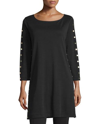 3/4-Sleeve Studded Tunic, Black, Petite