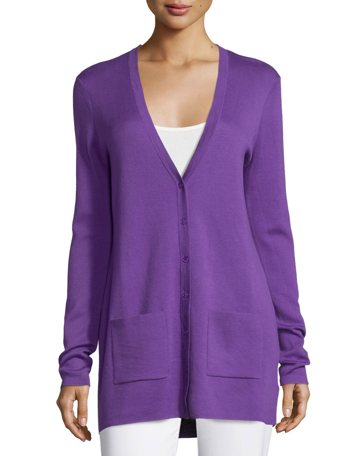 Button-Front Cashmere Cardigan W/Pockets, Lilac