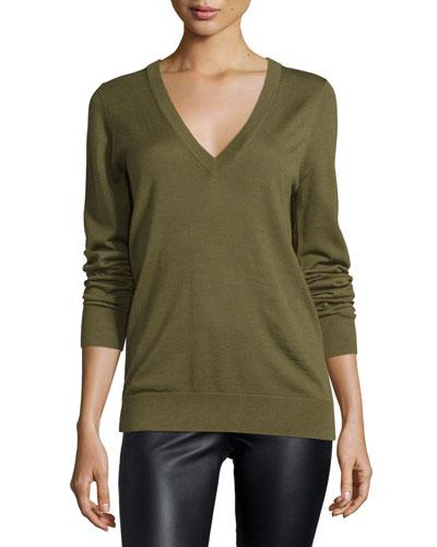 Long-Sleeve Reverse-Cowl Sweater, Juniper