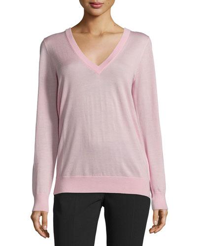 Long-Sleeve Reverse-Cowl Sweater, Oleander