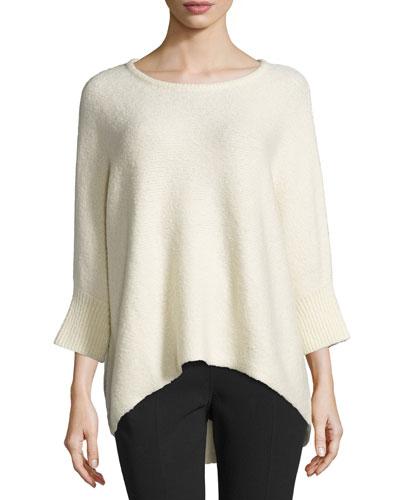 Dolman-Sleeve Round-Neck Sweater, Vanilla