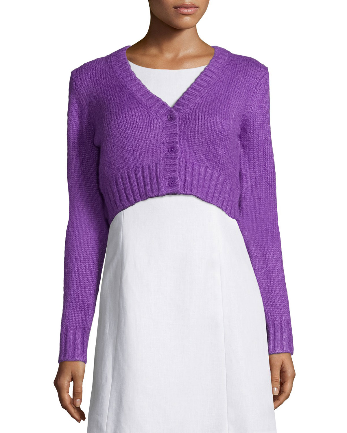 Button-Front Cropped Cardigan, Lilac