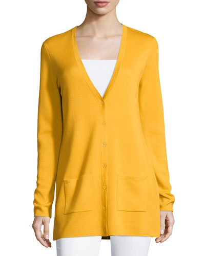 Button-Front Cashmere Cardigan W/Pockets, Daffodil