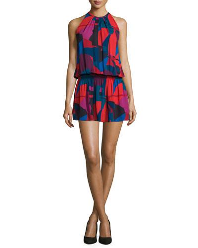 Paris Sleeveless Jewel-Neck Printed Dress, Sangria/Multi
