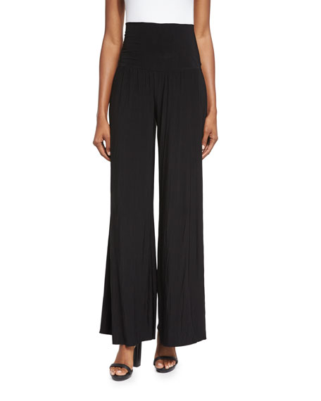 NIC+ZOE Feel Good High-Waist Wide-Leg Pants, Black Onyx, Petite