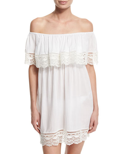 Waterlily Lace-Trim Coverup Dress