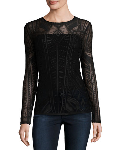 Agda Lace Long-Sleeve Top, Black