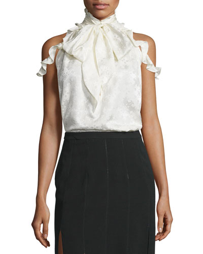 Drayton Cold-Shoulder Tie-Neck Top, Off White