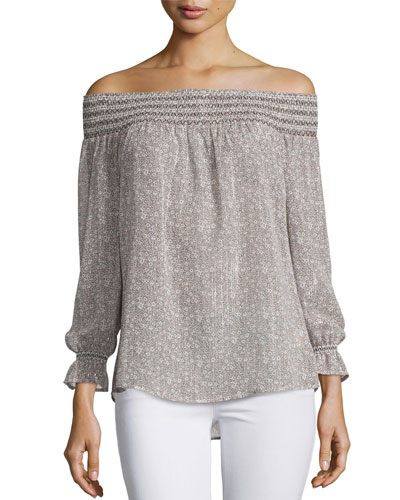 Atmosphere Smocked Off-The-Shoulder Top