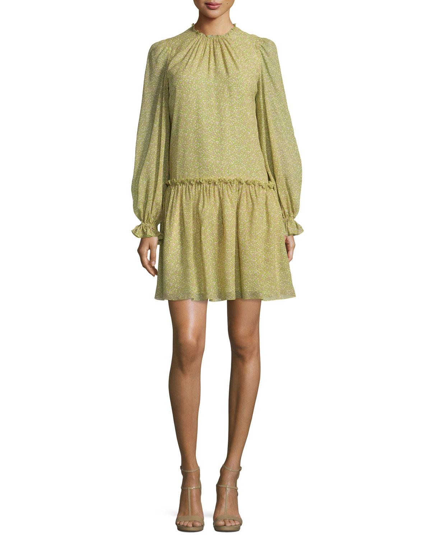 Long-Sleeve Floral-Print Dress, Leaf/Oleander