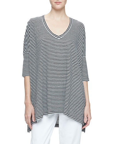 Dolman-Sleeve Striped Linen Tunic, Black/White, Petite