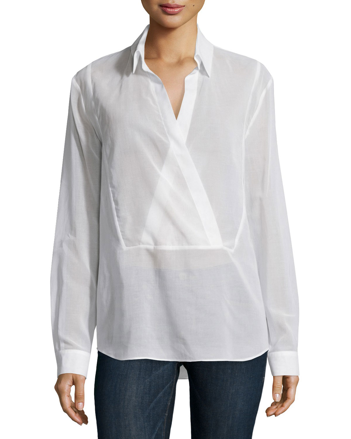 Long-Sleeve Wrap-Placket Blouse, Optic White
