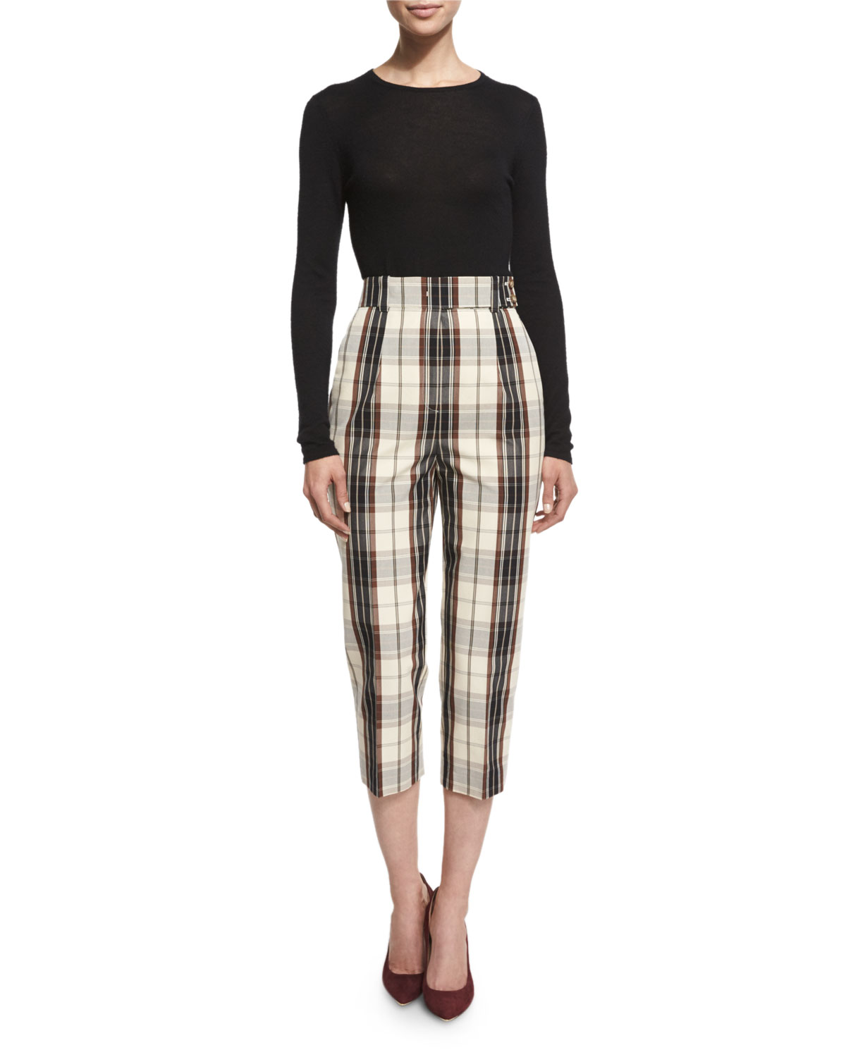 Pleated-Front Plaid Cropped Pants, Muslin/Black