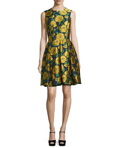 Sleeveless Floral-Print Fit-&-Flare Dress, Indigo/Daffodil