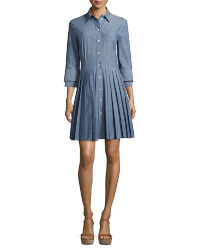 Button-Front Double-Cuff Shirtdress, Sky