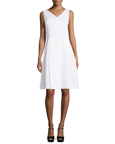 Sleeveless V-Neck A-Line Dress, Optic White