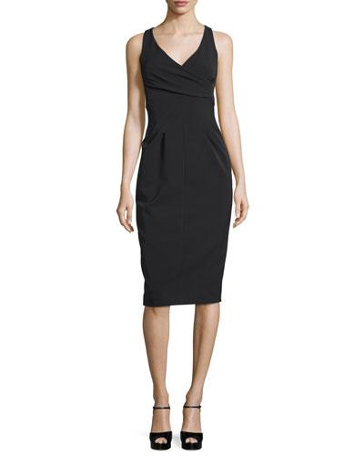 Sleeveless Crossover Sheath Dress, Black