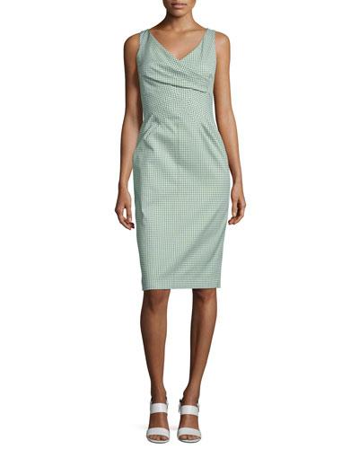 Crossover-Bodice Gingham Sheath Dress, Lawn