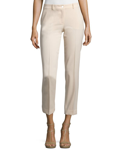 Straight-Leg Cropped Pants, Nude
