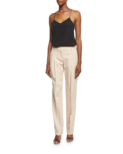 Mid-Rise Pleated-Front Pants, Nude