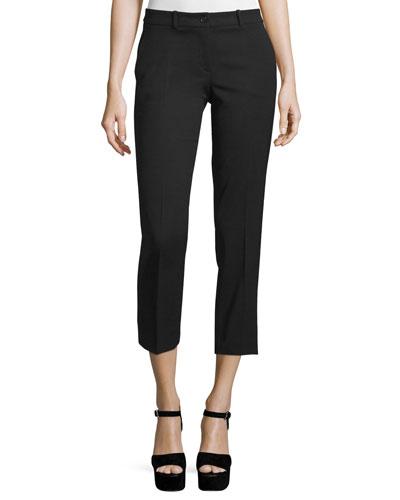 Straight-Leg Cropped Pants, Black