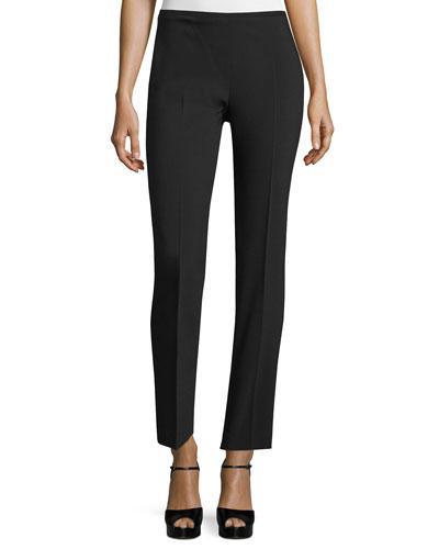 Straight-Leg Ankle Pants, Black