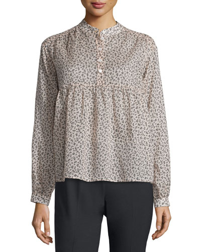 Long-Sleeve Mini Floral-Print Blouse, Nude/Black