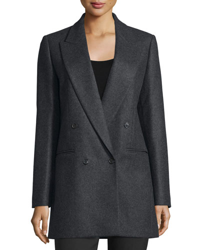 Double-Breasted Wool Boyfriend Jacket, Charcoal