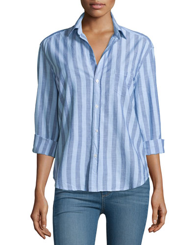 Eileen Long-Sleeve Striped Chambray Blouse, Blue