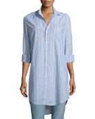 Mary Striped Chambray Shirtdress, Multi Stripe