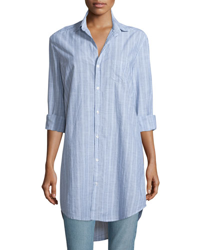 Mary Striped Chambray Shirtdress, Multi Stripe