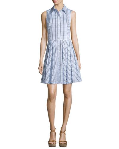Sleeveless Gingham Button-Front Shirtdress, White/Indigo
