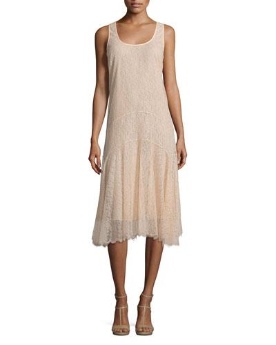 Scoop-Neck A-Line Tank Dress, Nude