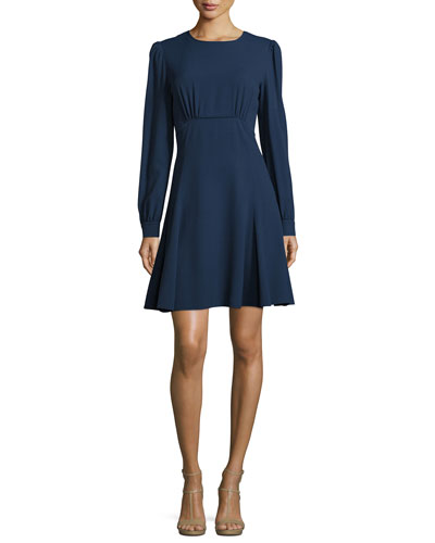 Long-Sleeve Round-Neck Empire Dress, Indigo