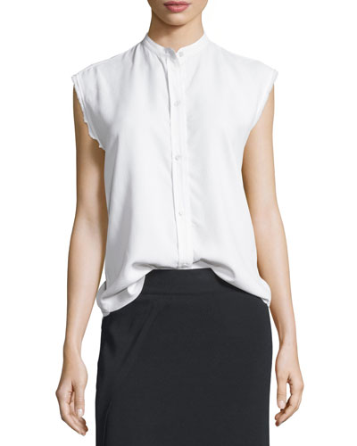 Sleeveless Back-Knot Poplin Shirt, White