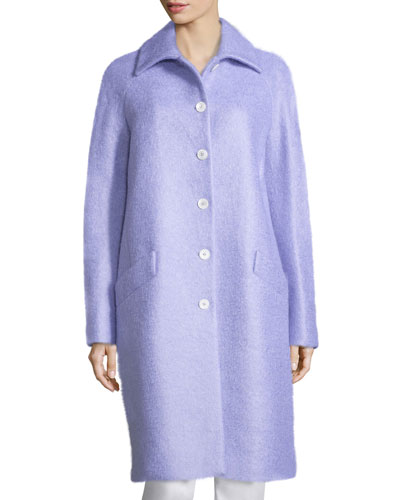Button-Front Wool-Blend Reefer Coat, Thistle
