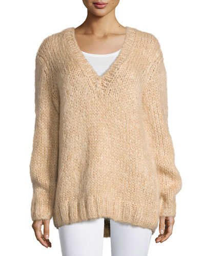 Long-Sleeve V-Neck Sweater, Nude