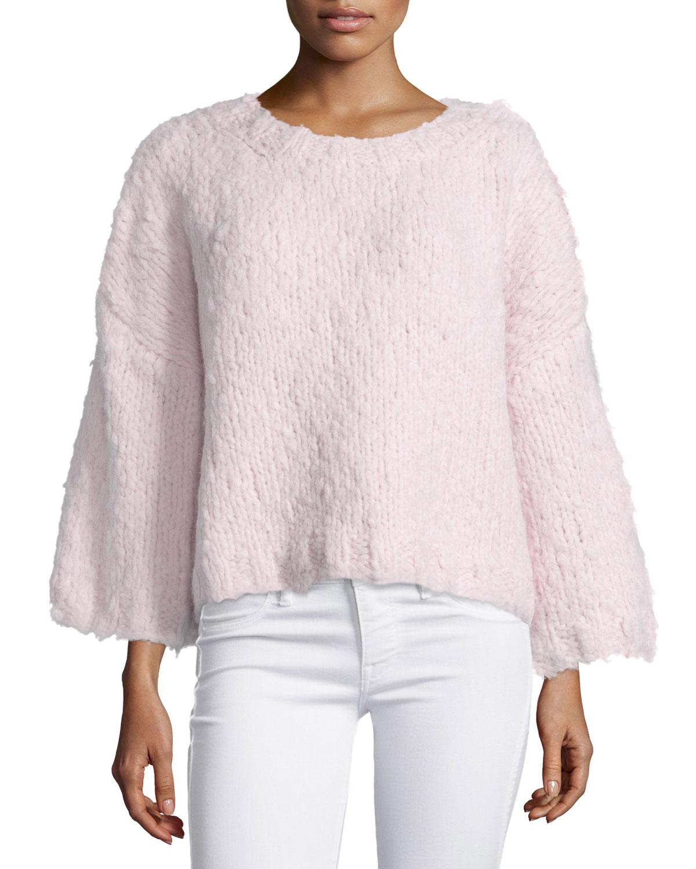 3/4-Sleeve Oversized Sweater, Blush