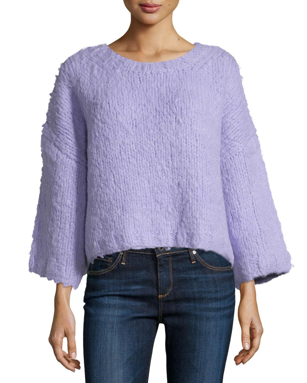 3/4-Sleeve Oversized Sweater, Thistle