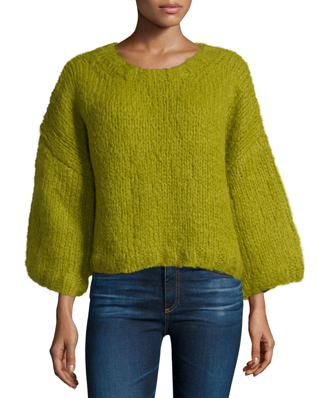 3/4-Sleeve Oversized Sweater, Leaf