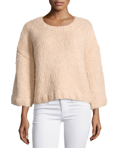 3/4-Sleeve Oversized Sweater, Nude