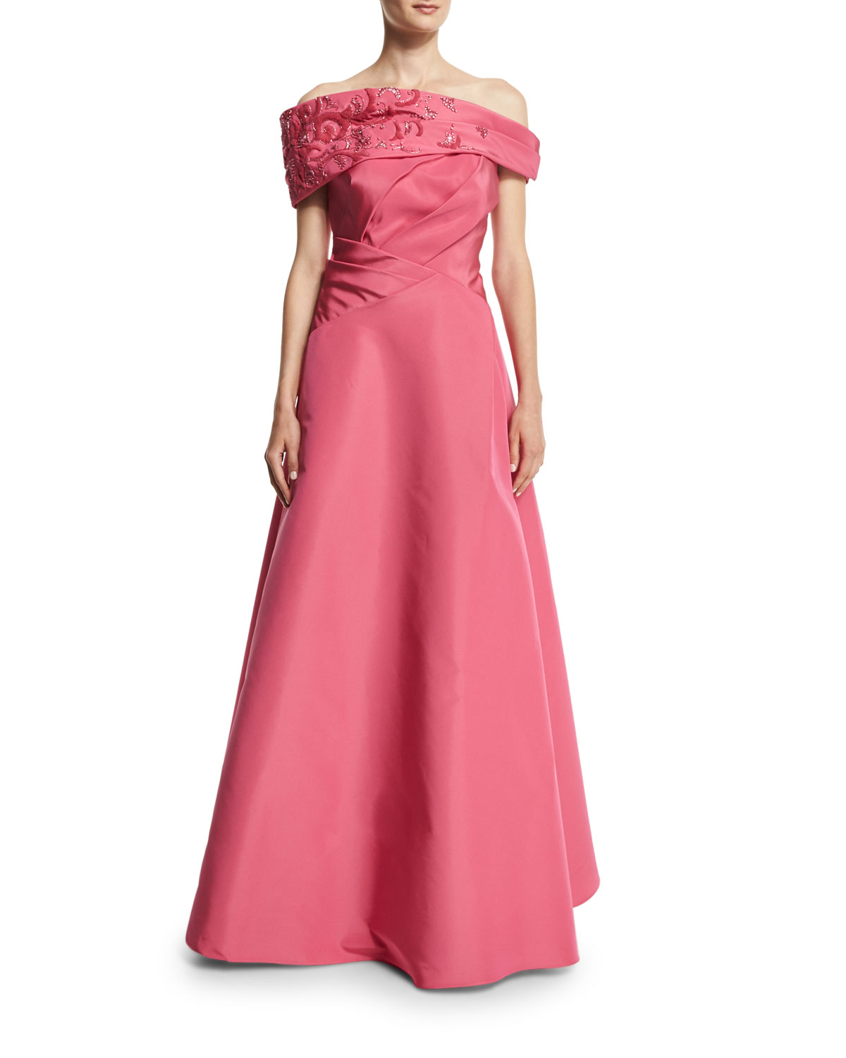 Embellished Off-The-Shoulder Gown, Magenta