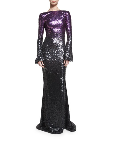 Long-Sleeve Sequined Ombre Gown, Amethyst/Granite