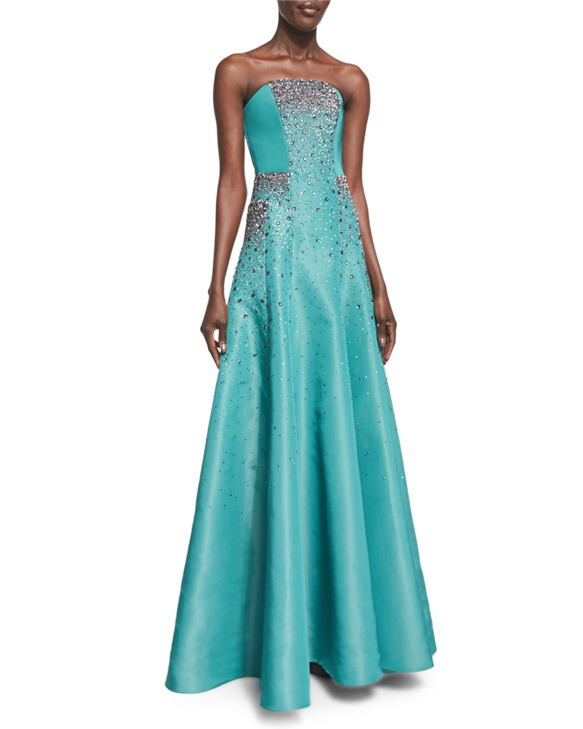 Strapless Crystal-Embroidered Taffeta Gown
