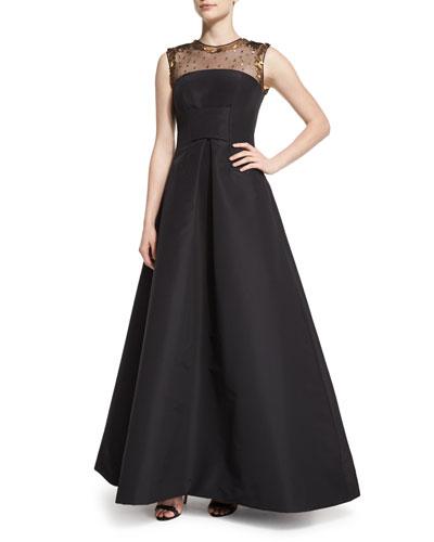 Embellished-Yoke Fit-&-Flare Gown, Black