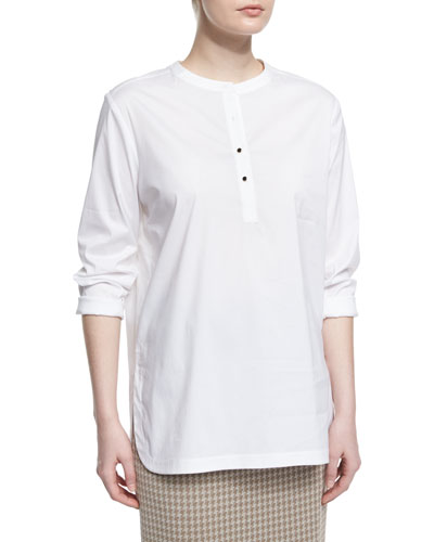 Button-Placket Long-Sleeve Blouse, White