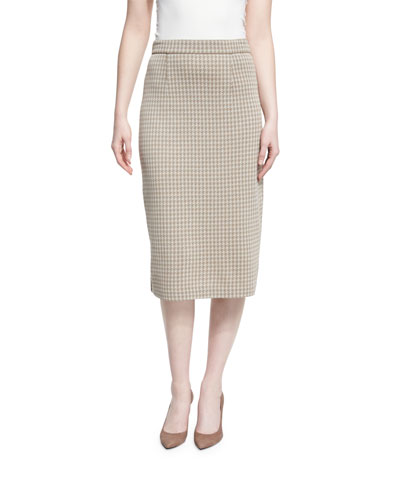 Mid-Rise Houndstooth Pencil Skirt, Almond/Latte, Plus Size