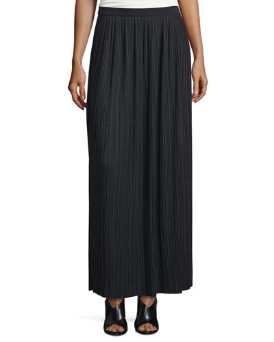 Long Pleated Skirt, Black, Petite