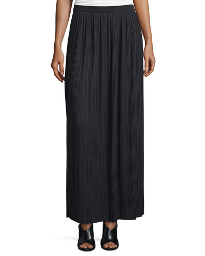 Long Pleated Skirt, Black, Plus Size